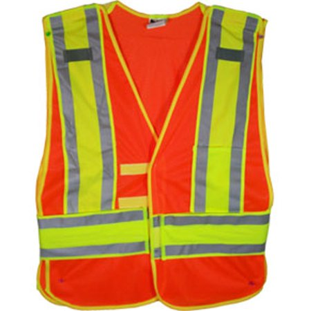 Orange Class II MESH First Responder Safety Vest with Lime/Silver Stripes and 5 point tearaway, Size 4X+