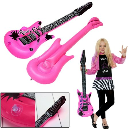 dazzling toys 6 Inflatable Large Rock Guitars | 42 inches (107 cm) Kids Pool Party Music Themed Party Favor Set of 6 - Music Inflatables