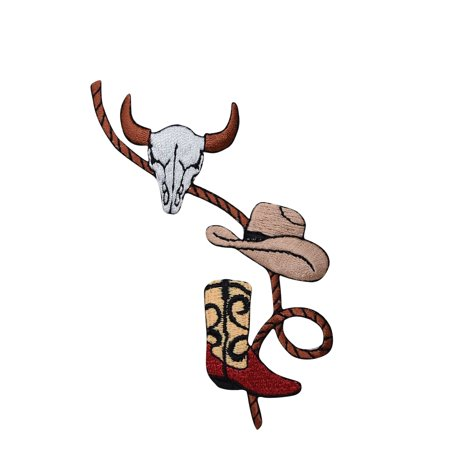 Western Rope with Boot, Cowboy Hat and Skull - Iron on Applique/ Embroidered Patch for $<!---->