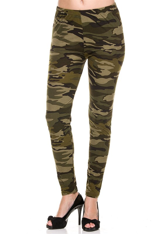 Juniors' Leggings Celebrity Brushed Camouflage Print Leggings Soft Stretchy Pants (Small,MultiColor)