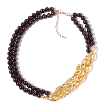 "Beads Goldtone Strand Beaded Necklace Jewelry Gift for Women 20-22"" (Black/Green/Red)"