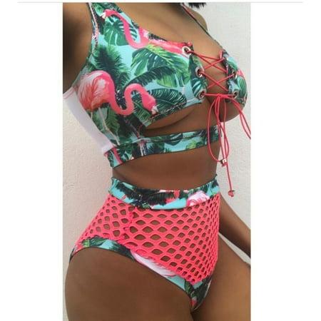 Women Lace Up Bikini Set Push-up Padded Bra Mesh Swimsuit Bathing Suit Swimwear - image 4 of 5