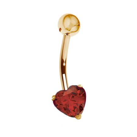 14k Yellow Gold Heart Belly Button Navel Ring Body - 14k Gold Belly Button Ring