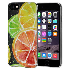iPhone 6s Plus/ iPhone 6 Plus Case, Soft Gel Clear TPU Back Case Impact Defender Skin Cover for iPhone 6s Plus and iPhone 6 Plus - Modern Citrus Print
