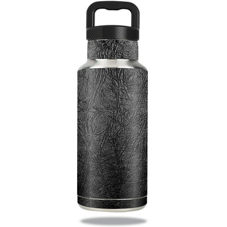 MightySkins Protective Vinyl Skin Decal for Ozark Trail Water Bottle 36 oz wrap cover sticker skins Black Leather