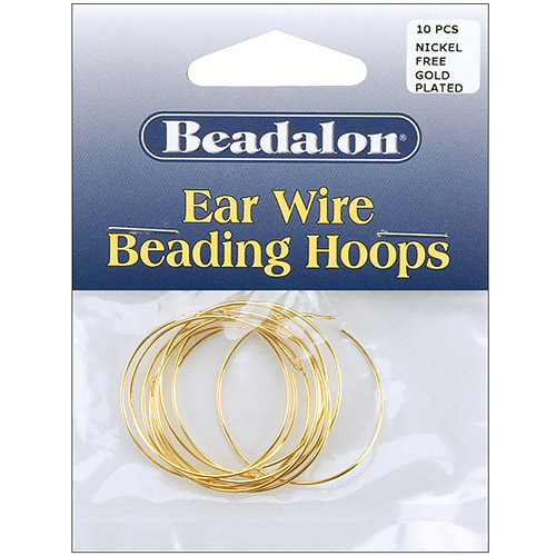 Beadalon Ear Wire Beading Hoops Large 30mm, 10-Pack