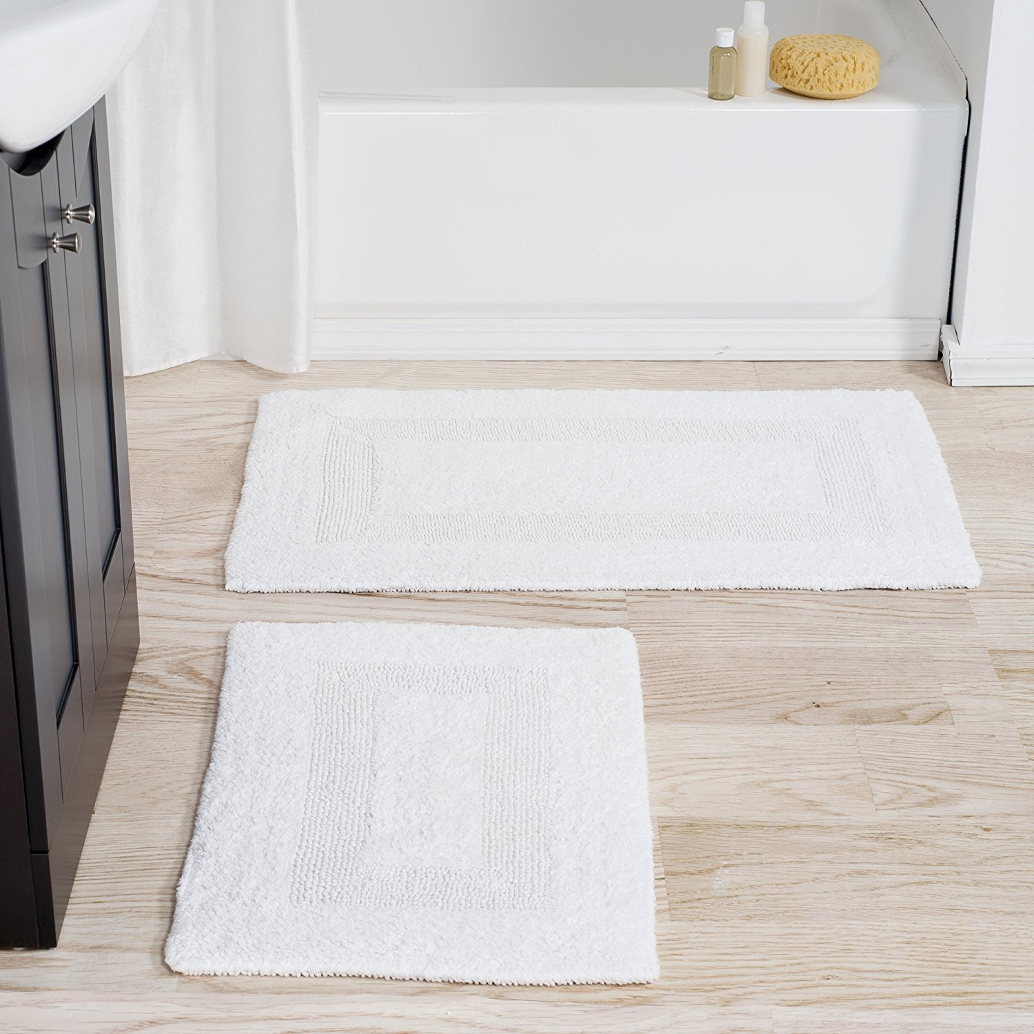 100% Cotton 2 Piece Reversible Rug Set - White, 100% Cotton By Bedford Home From USA