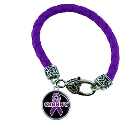 Crohns Disease Awareness Purple Leather Bracelet Jewelry