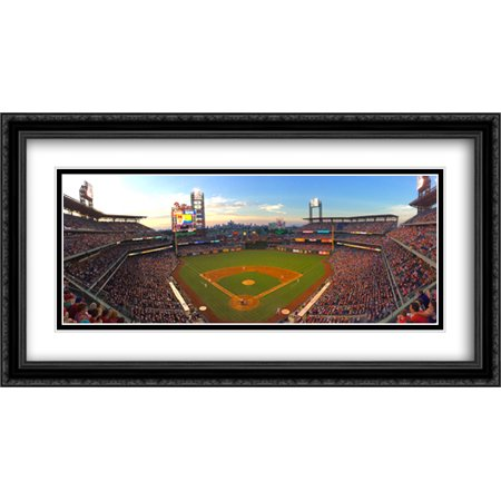 Citizens Bank Park 2X Matted 40X22 Large Black Ornate Framed Art Print From The Stadium Series