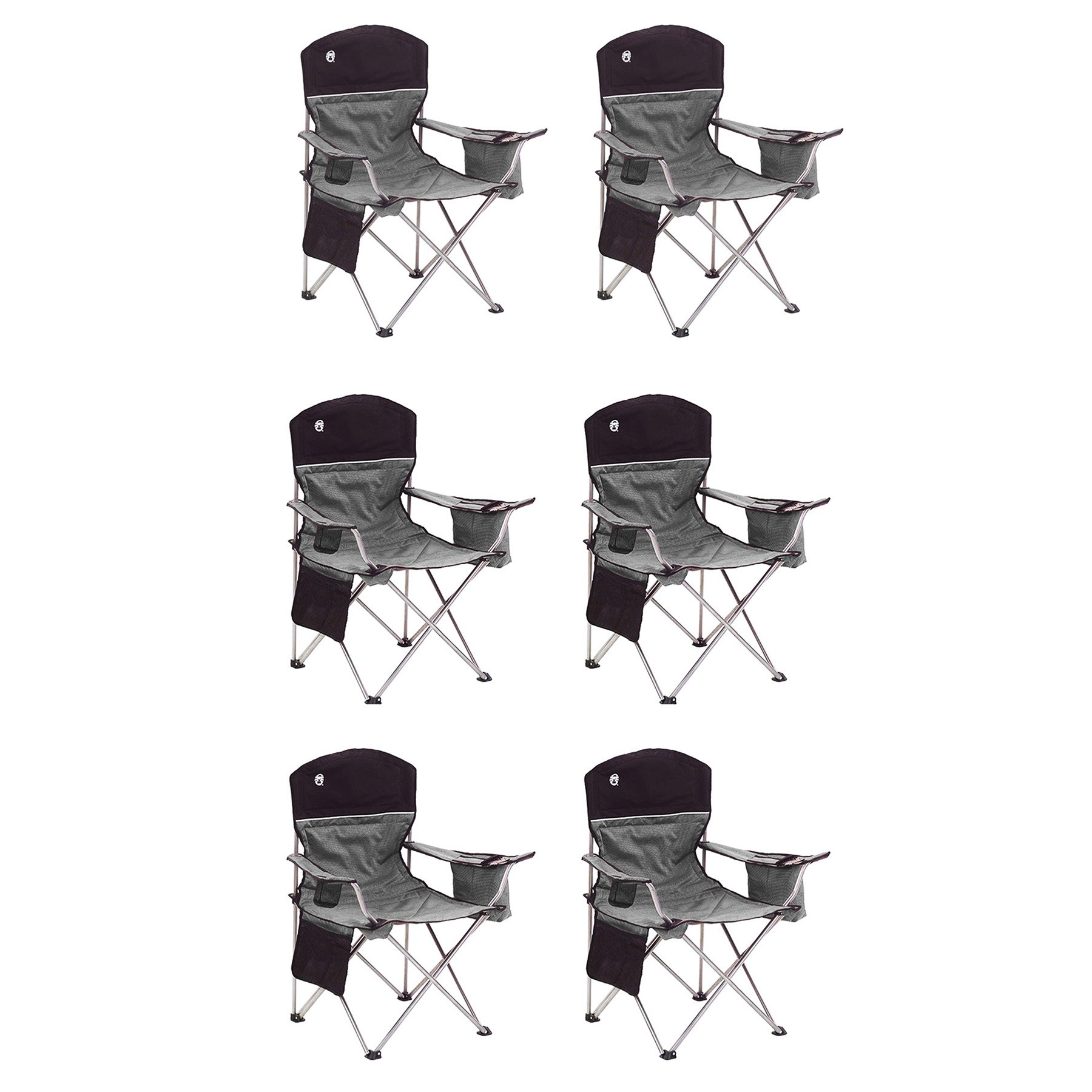 Coleman Oversized Quad Black Chairs + Cooler/Cup Holder, 6-Pack | 6 x 2000020256