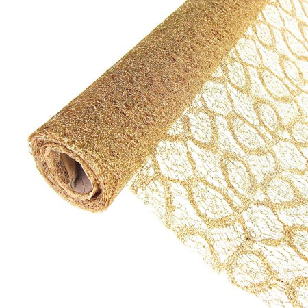 Faux Lace Ribbon with Glitters, 19-Inch, 5 Yards, Gold