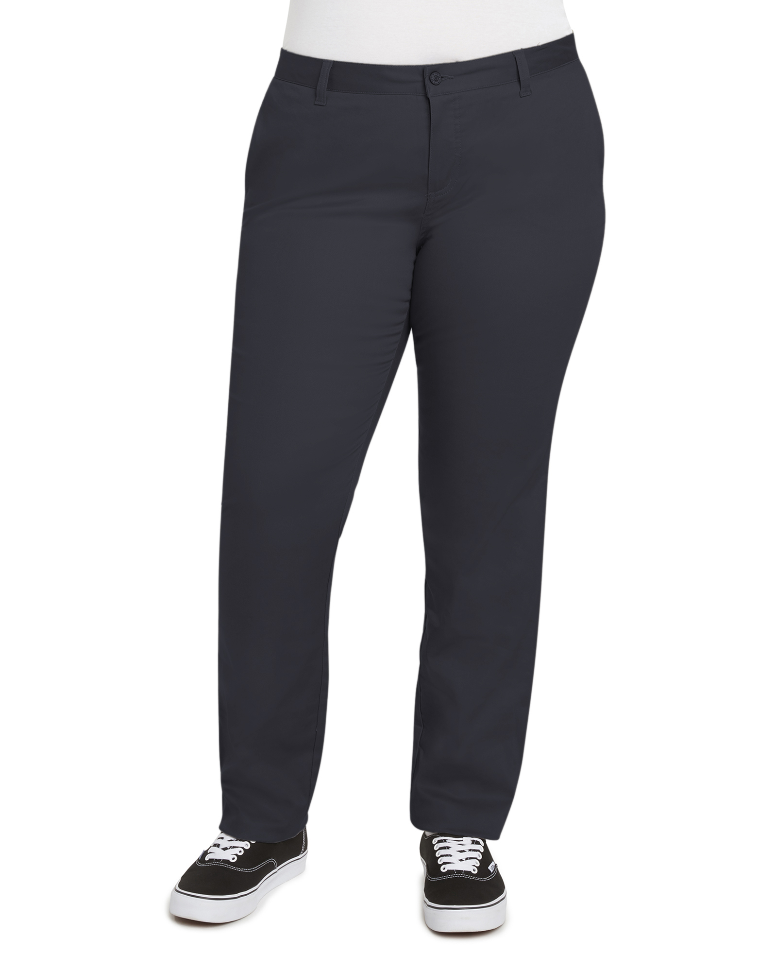 Juniors' Plus Size Everyday Mid Rise Straight Twill Pant