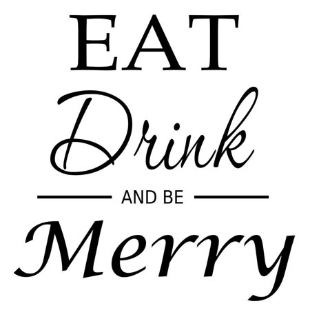 VWAQ Eat Drink And Be Merry, Kitchen Wall Words And Quotes Wall Decor Decals -18106 ()