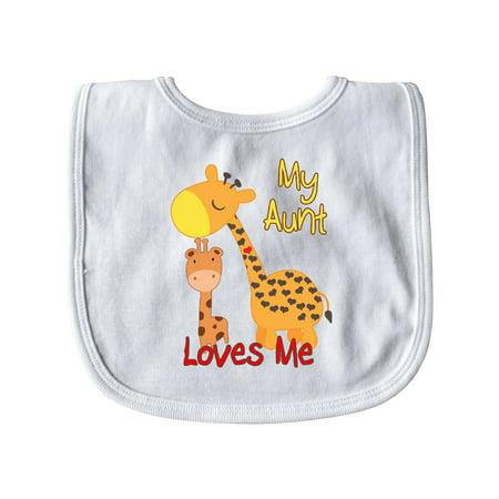 My Aunt Loves Me Giraffe Baby Bib Aunt Personalized Baby Bib