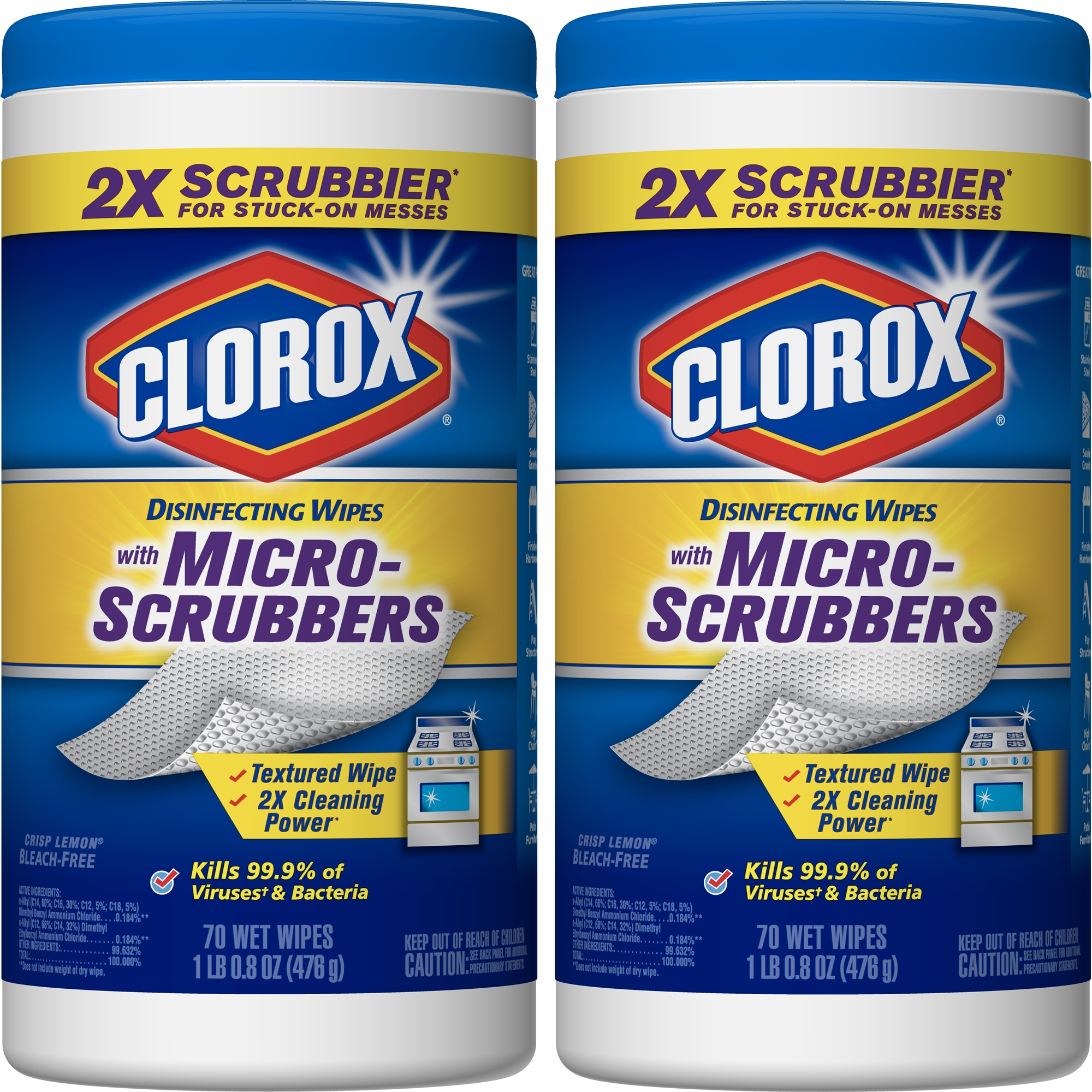 Clorox Disinfecting Wipes with Micro-Scrubbers Value Pack, Bleach Free Cleaning Wipes, Crisp Lemon - 70 ct Each (Pack of 2)