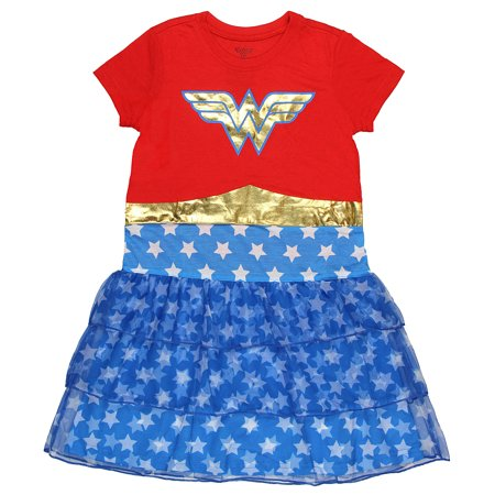 DC Comics Wonder Woman Girls' Costume 3 Tier Nightgown (Large, 10/12) (Wonder Women Outfit)