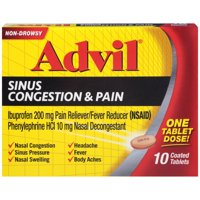 Advil® Sinus Congestion & Pain Fever Reducer/Pain Reliever (Ibuprofen) & Decongestant Coated Tablets 10 ct Box