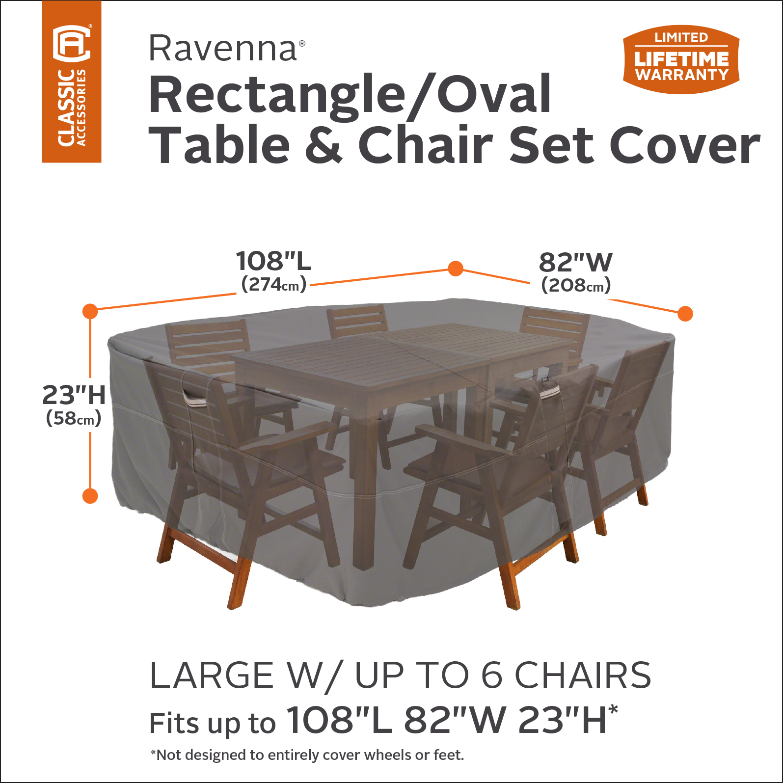 dbd0d52dcb14 Ravenna Rectangular/Oval Patio Table & Chair Set Storage Cover, Fits Sets  108