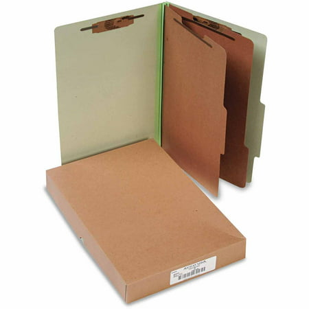 ACCO 25-Point Pressboard Classification Folders, Legal, 6-Section, Leaf Green, 10-Pack