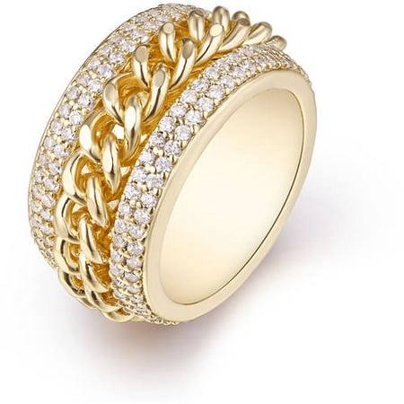 - Swarovski Elements 18kt Gold-Tone Braid Statement Ring
