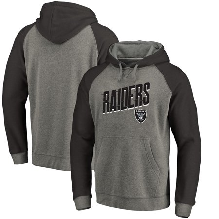 - Oakland Raiders NFL Pro Line by Fanatics Branded Slant Strike Tri-Blend Raglan Pullover Hoodie - Heathered Gray