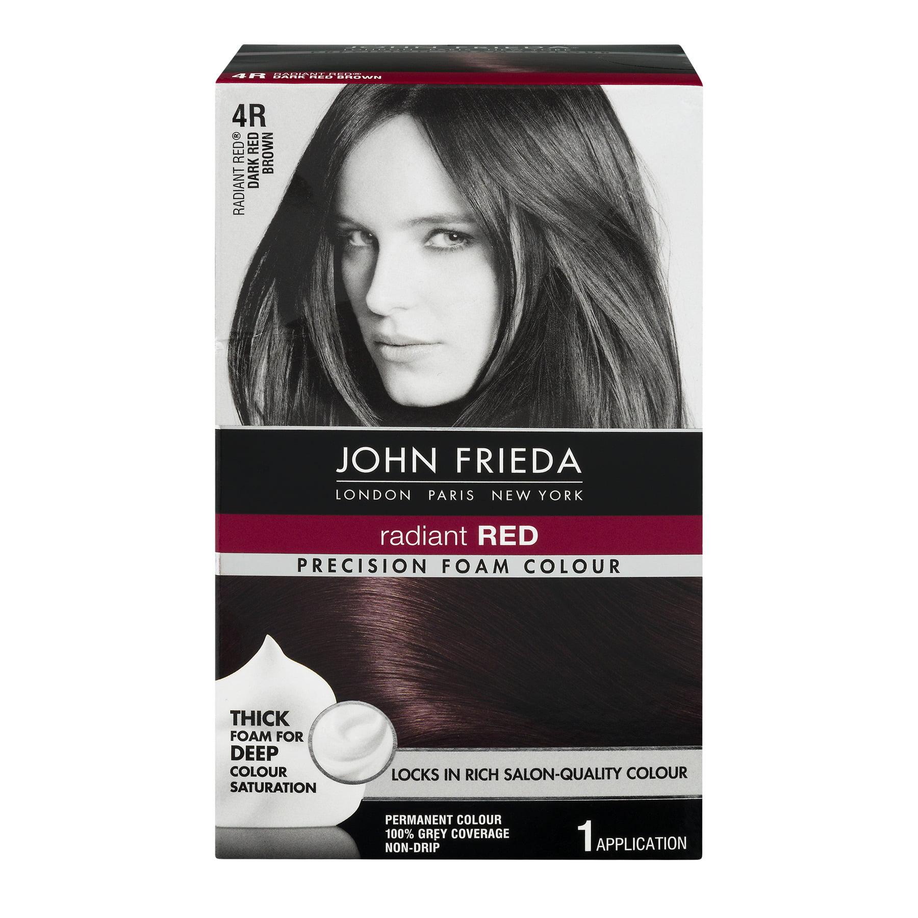 John Frieda Radiant Red 4r Dark Red Brown Precision Foam Colour 1