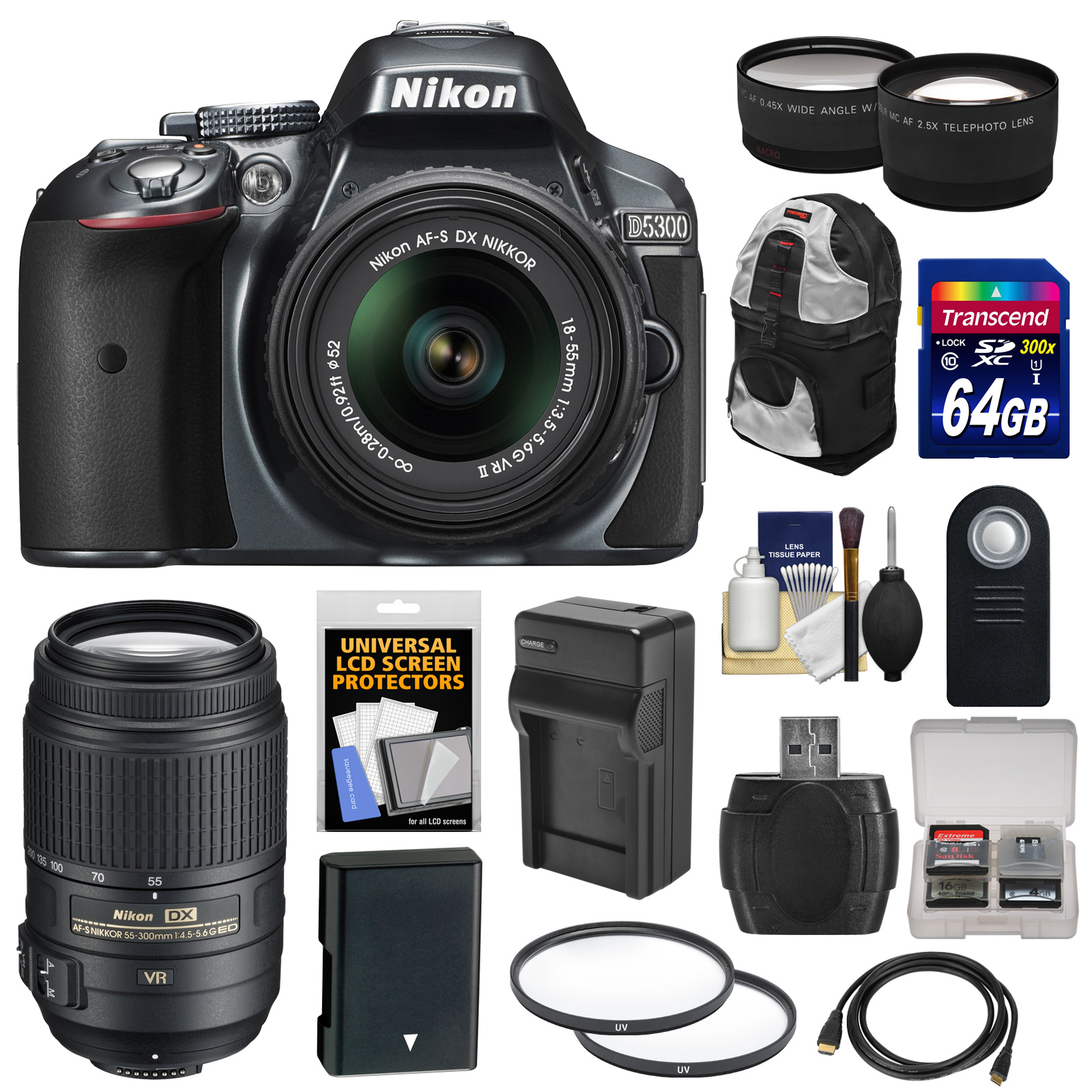 Nikon D5300 Digital SLR Camera & 18-55mm VR II Lens (Grey) with 55-300mm VR Lens + 64GB Card + Battery & Charger + Backpack + Tele/Wide Lens Kit