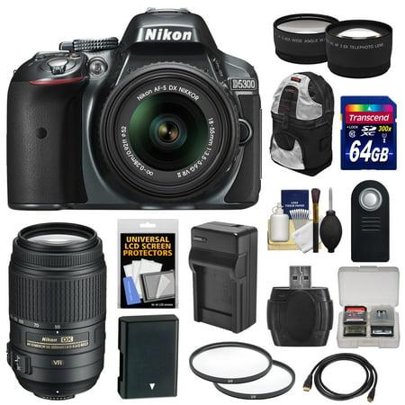 Nikon D5300 Digital SLR Camera & 18-55mm VR II Lens (Grey) with 55-300mm VR Lens + 64GB Card + Battery & Charger + Backpack + Tele/Wide Lens Kit