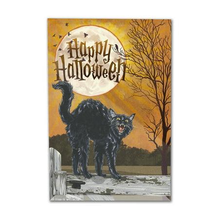 Halloween - Happy Halloween - Black Cat & Moon - Lantern Press Artwork (6x9 Acrylic Photo Block Gallery Quality) (Blocks Happy Halloween)