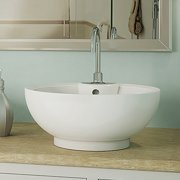 DecoLav Kyra Classically Redefined Ceramic Circular Vessel Bathroom Sink with Overflow