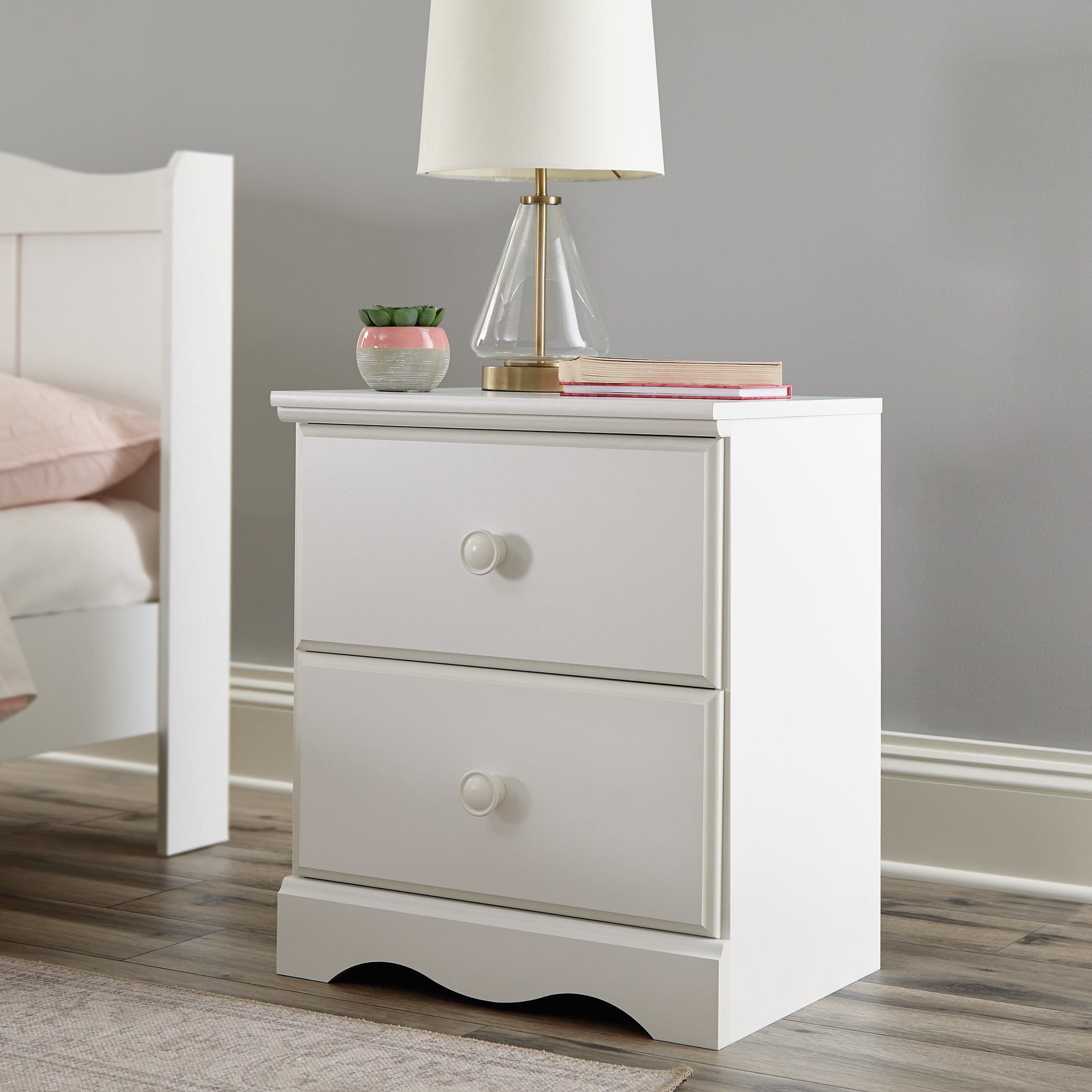 Sauder Storybook 2 Drawer Nightstand Soft White Finish Walmart Com Walmart Com