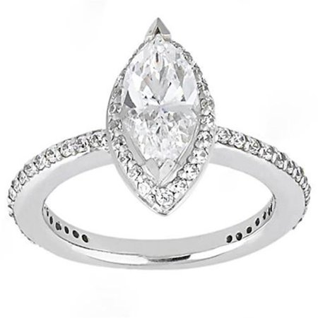 Harry Chad HC11912 1.65 CT Marquise Cut Diamonds Ring White Gold - Color F - VS1 & VVS1 Clarity