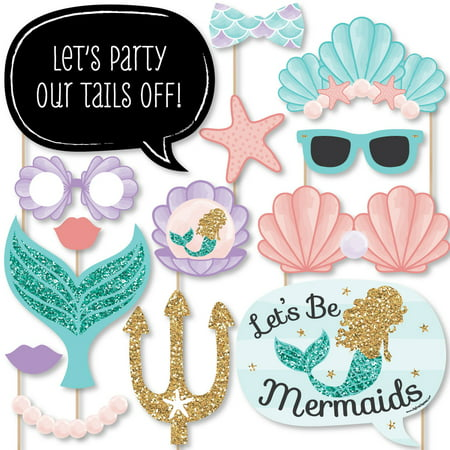 Let's Be Mermaids - Baby Shower or Birthday Party Photo Booth Props Kit - 20 Count