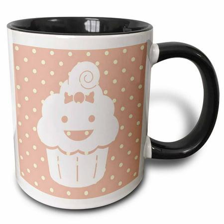 3dRose Happy Cupcake with Polka Dots - Cute and Adorable - Kawaii, Two Tone Black Mug, 11oz