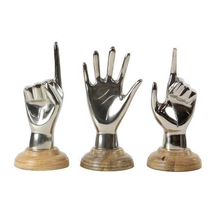 Decmode Modern 7 Inch Hands Sculptures - Set of 3