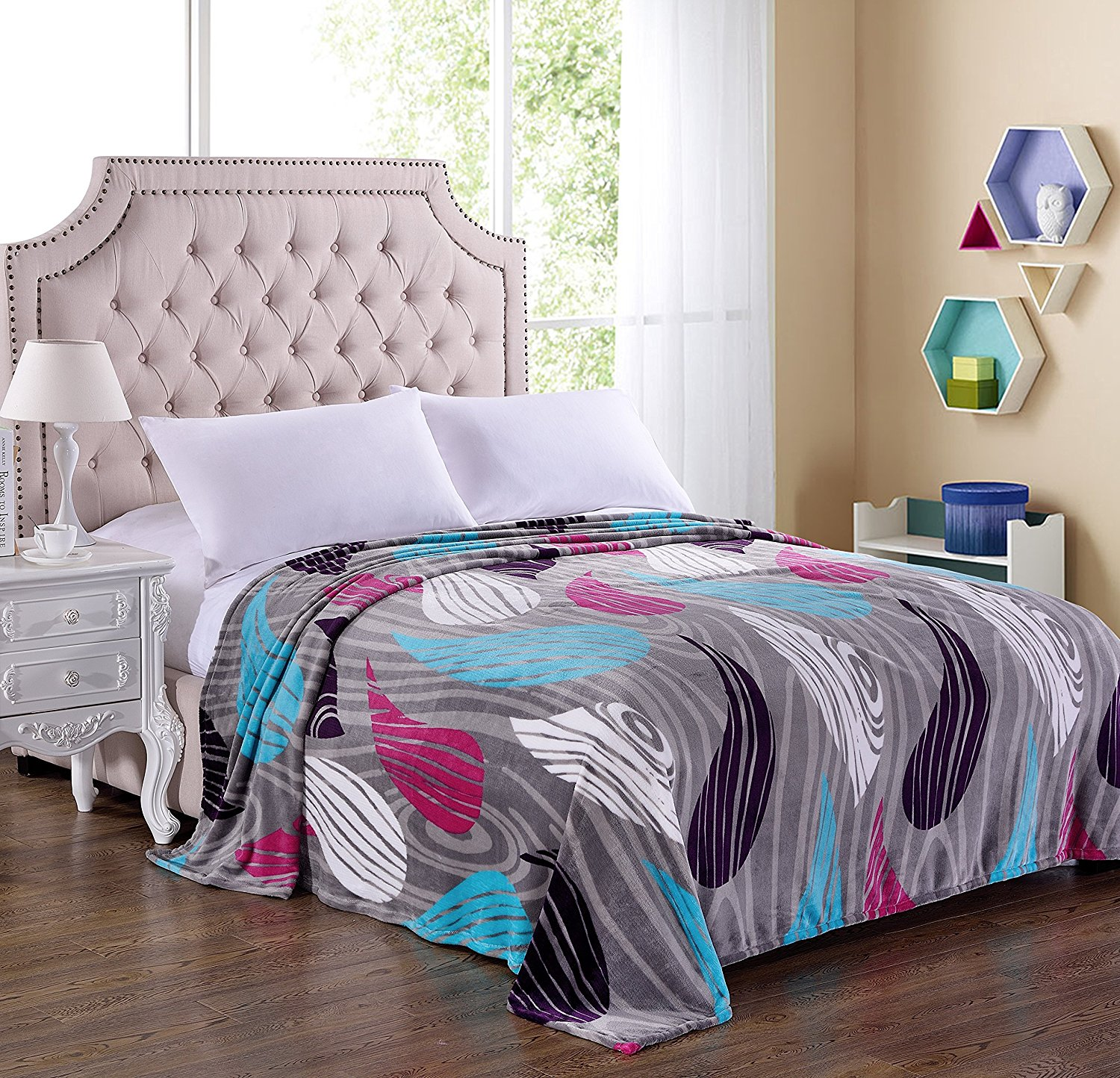 Picasso Collection Colorful Paisley Micro Plush Blanket, Twin