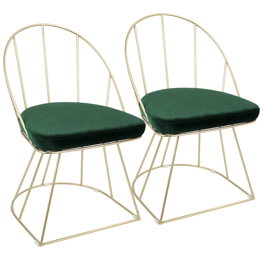 Canary Contemporary Dining   Accent Chairs In Gold and Green Velvet by Lumisource Set of 2 by