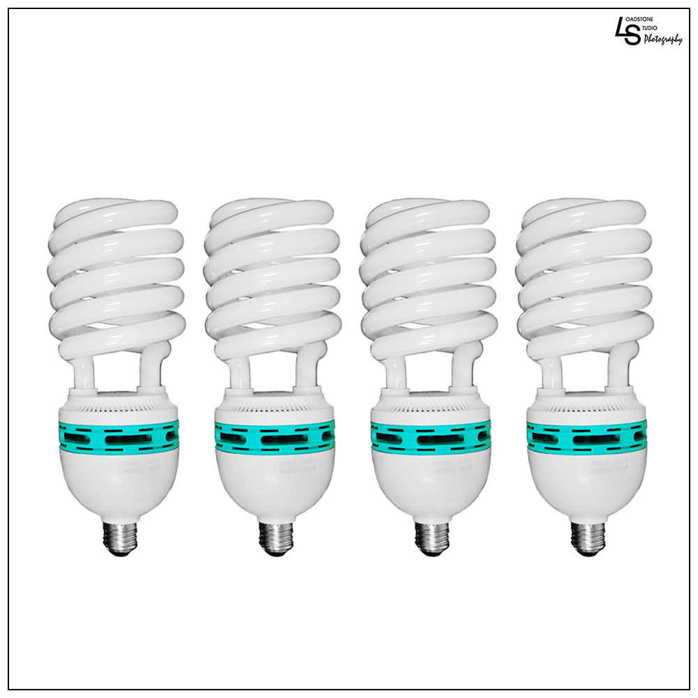 4x 45W Full Spectrum CFL 6500K Daylight Balanced Pure White Light Photo Video Bulb Set of 4 by Loadstone Studio WMLS0190