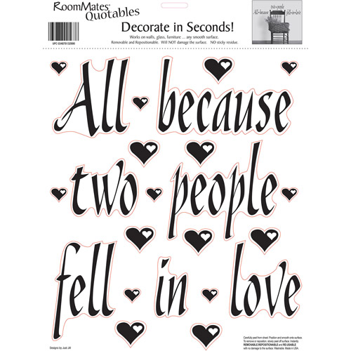 RoomMates All Because Two People Fell In Love Peel and Stick Wall Decals, Single Sheet