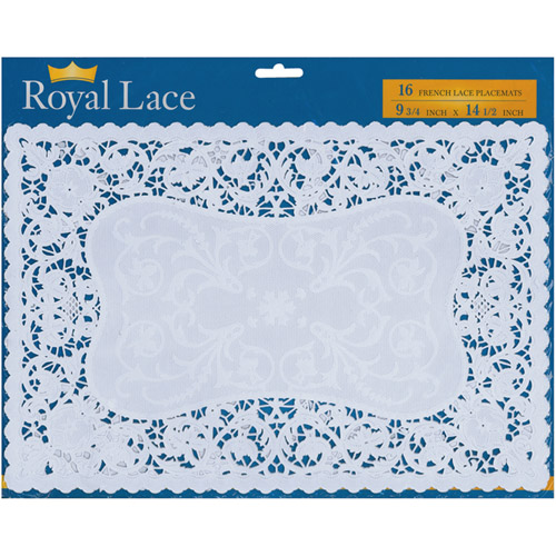 "French Lace Paper Doilies, 9.75"" x 14.5"", Rectangle, 16-Pack, White"
