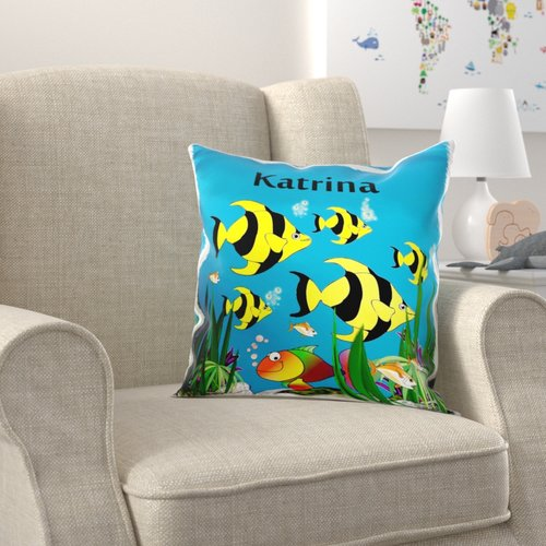 Zoomie Kids Brothers Tropical Plants and Fish Design Personalized with A Female Name Katrina Pillow Cover