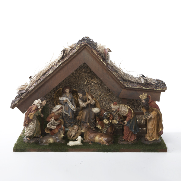 11-Piece Inspirational Religious Christmas Nativity Set with Wooden Stable 20""