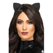 "18.5"" Black Glitter Cat Ears Women Adult Halloween Headband Costume Accessory - One Size"