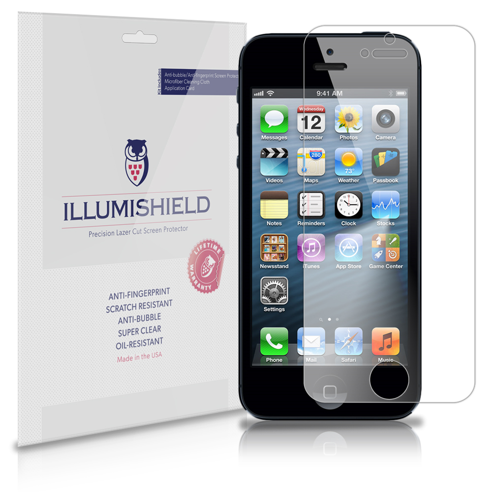iLLumiShield Phone Screen Protector w Anti-Bubble/Print 3x for Apple iPhone 5