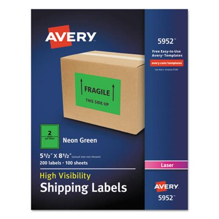 Avery-Dennison 5952 Neon Shipping Label, Green Avery Dennison Green Markers