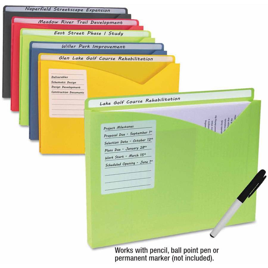"""C-Line Write-On Expanding Poly File Folders, 1"""" Expansion., Letter, Assorted Colors, 10 per Box"""
