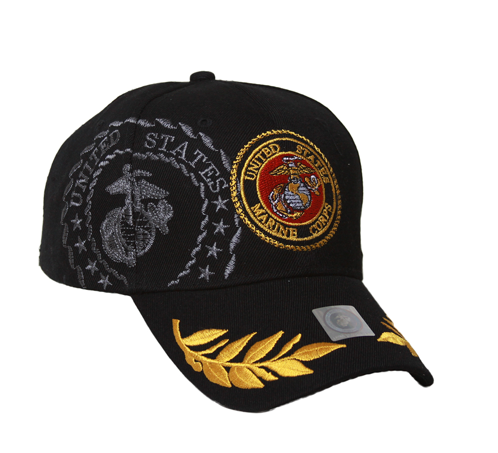 Military - US Marine Corps Emblem Shadow Hat - Black
