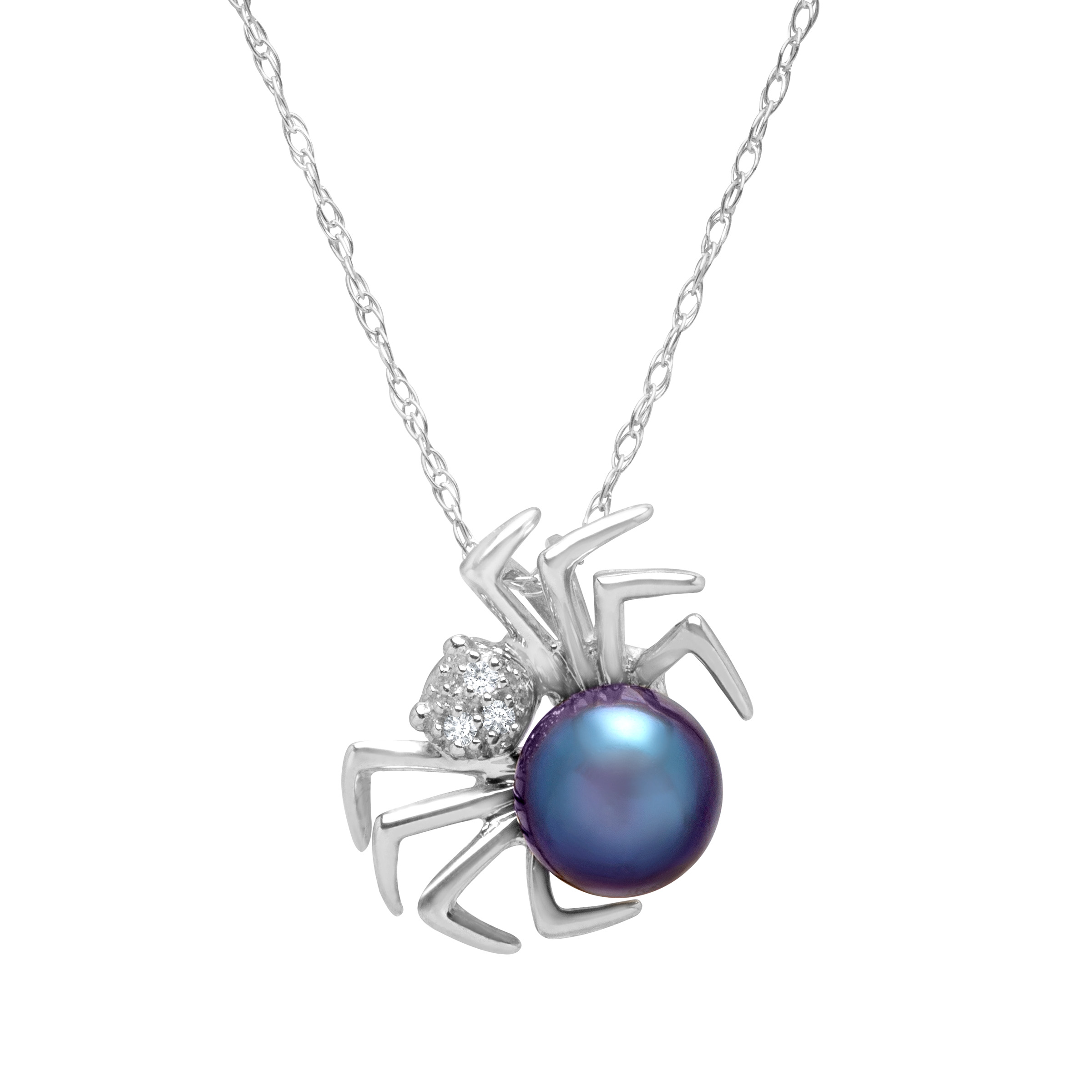 6 mm Freshwater Black Pearl Spider Pendant Necklace with Diamonds in 14kt White Gold by Richline Group