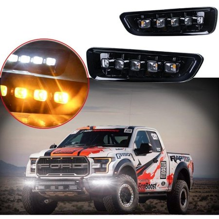 Xotic Tech 2pcs High Power Dual Color White Amber 5-LED Switchback Fog Lights for Ford F-150 Raptor 2017-2018
