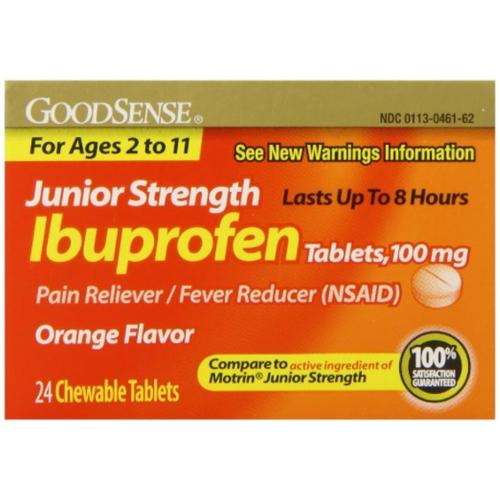 Good Sense Junior Strength Ibuprofen Pain Reliever/Fever Reducer Tablets, 100 mg 24 ea (Pack of 3)